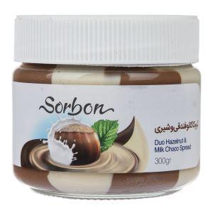 شکلات صبحانه فندقی دورنگ 300گرم شیشه sorbon